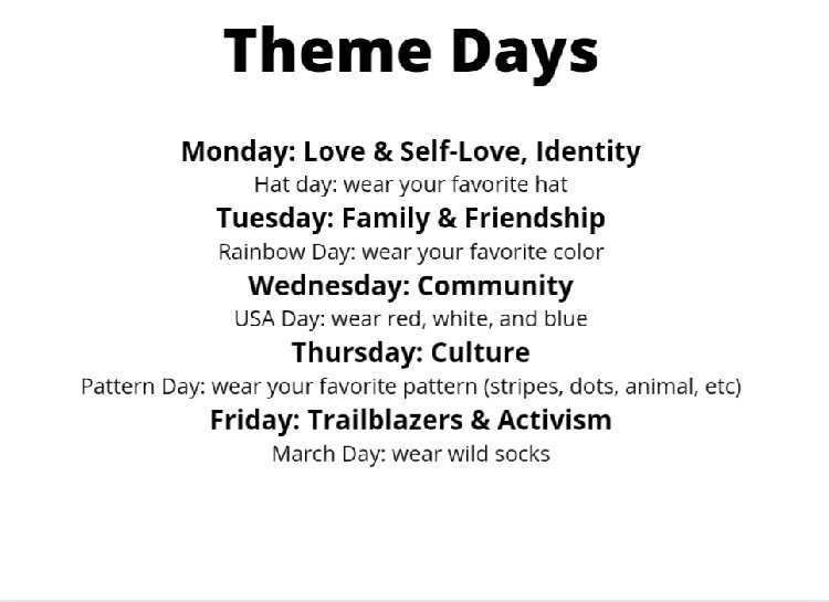 List of theme day activities
