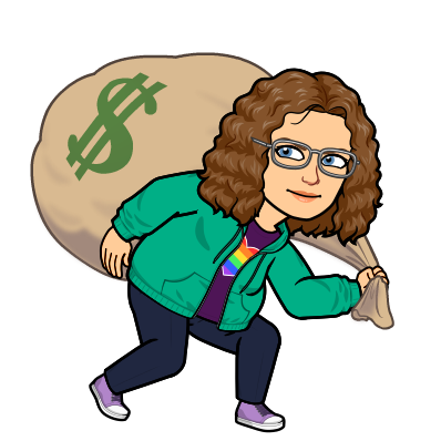 Cartoon of Ms. Pointer carrying a bag of change