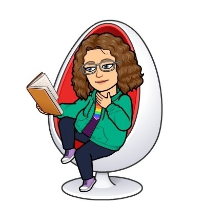 cartoon of Ms. Pointer sitting in an egg chair reading a book.