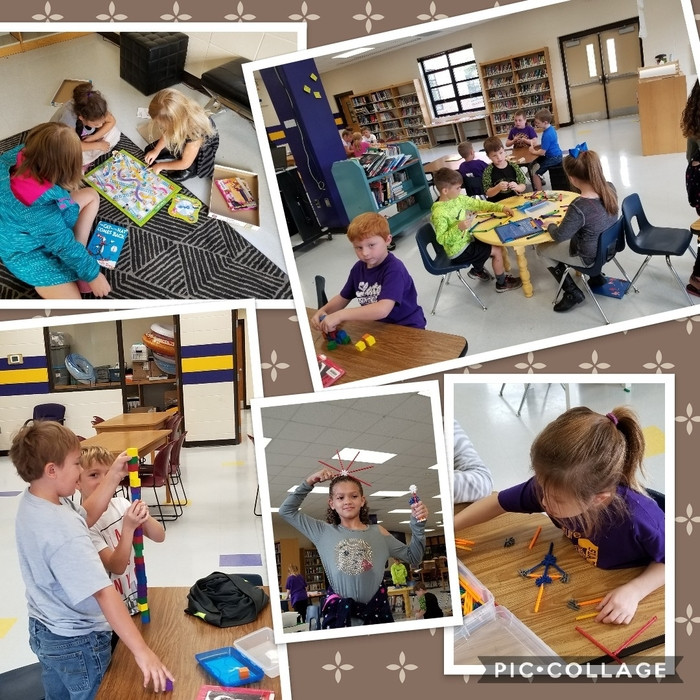 2nd graders creating with STEM Bins