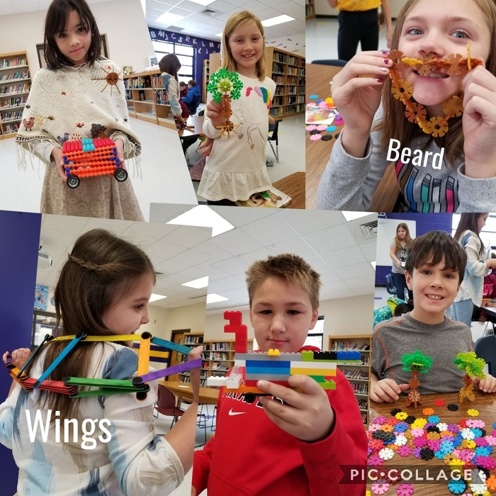 3rd graders building and creating with STEM materials