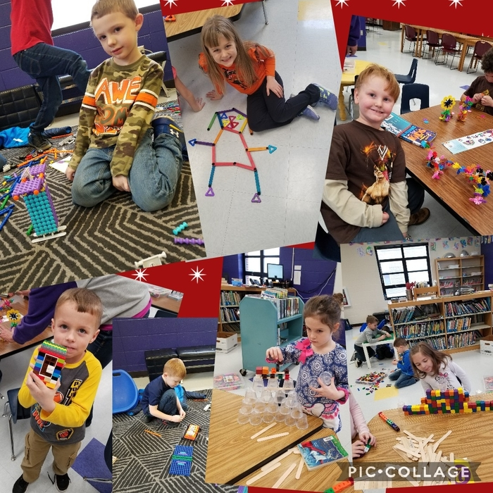Kindergarteners building and creating with STEM materials