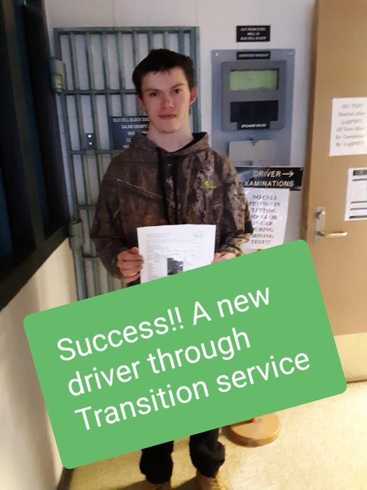 Cody is pictured after passing his driver permit test.