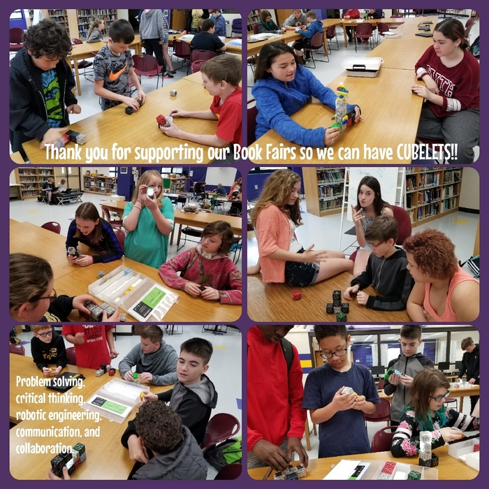 Students using Cubelets to build robots.