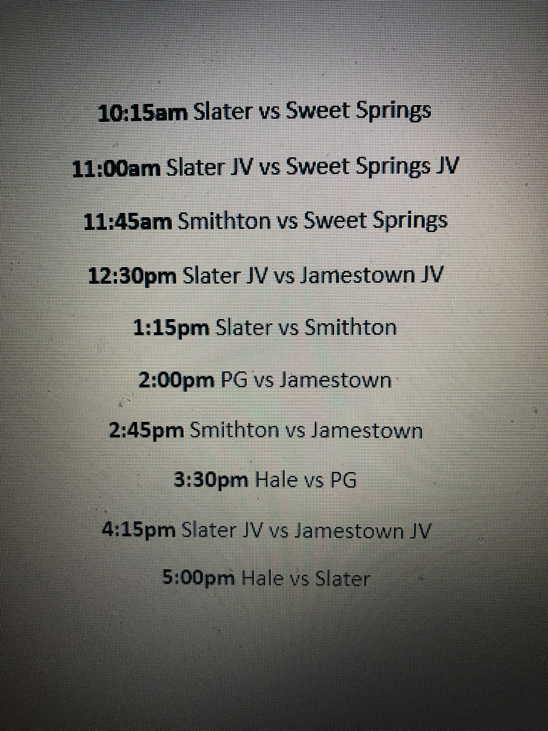 Boy's shootout schedule for June 25th
