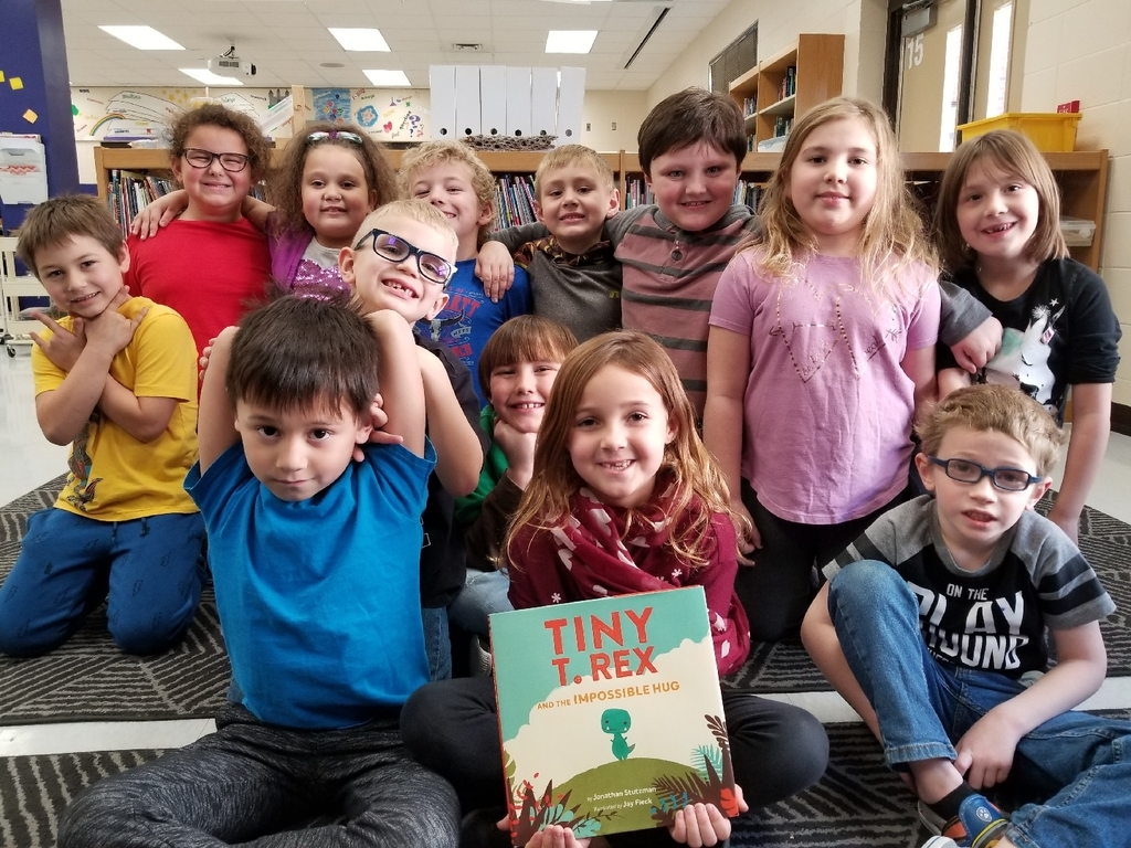 1st graders with a new signed book!